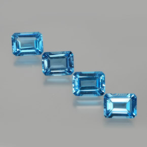 2.04 ct Octagon Facet Swiss Blue Topaz Gemstone 8.14 mm x 6.1 mm (Product ID: 372417)