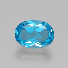 Intense Blue Topaz Gem - 2.6ct Oval Facet (ID: 385076)