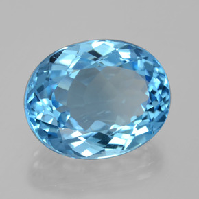 22.96 ct Oval Facet Swiss Blue Topaz Gemstone 19.22 mm x 15.4 mm (Product ID: 395952)