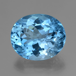 39.20 ct Oval Facet Swiss Blue Topaz Gemstone 22.51 mm x 18.9 mm (Product ID: 419652)