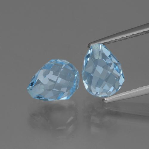 Light Cyan Blue Topacio Gema - 2.5ct Biolette medio perforado (ID: 426483)