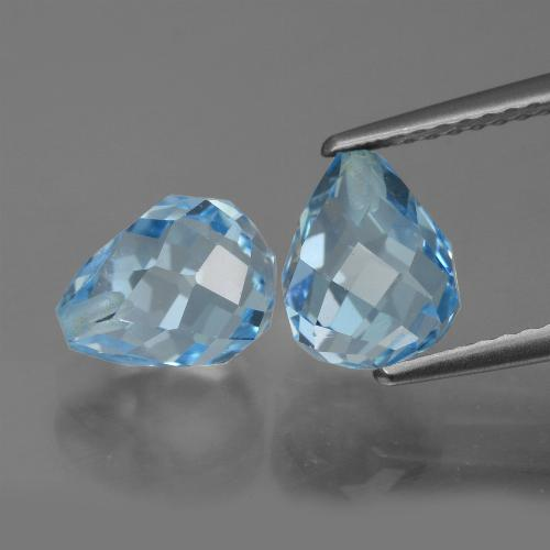 Deep Maya Blue Topacio Gema - 2.6ct Biolette medio perforado (ID: 426672)
