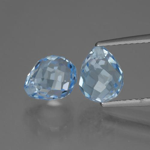 Sky Blue Topaz Gem - 2.8ct Half-Drilled Briolette (ID: 426734)