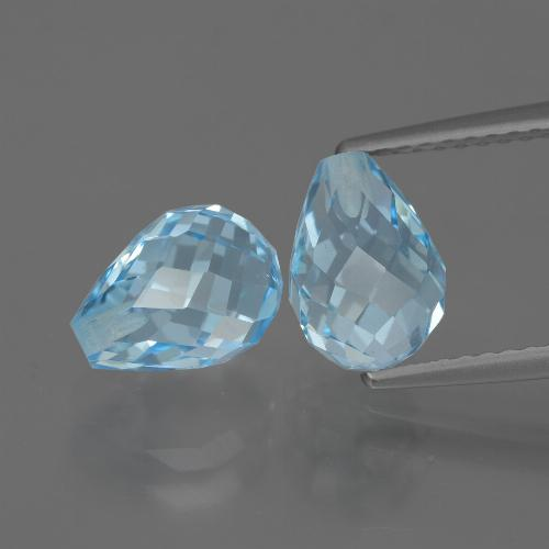 Light Cyan Blue Topaz Gem - 2.6ct Half-Drilled Briolette (ID: 426807)