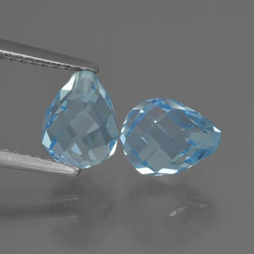 Deep Maya Blue Topacio Gema - 2.4ct Biolette medio perforado (ID: 426958)