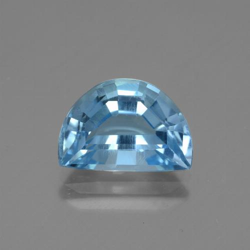 Swiss Blue Topaz Gem - 4.4ct Half Moon Facet-Cut (ID: 434310)