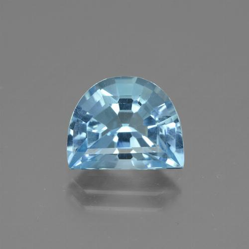 Swiss Blue Topaz Gem - 3.8ct Half Moon Facet-Cut (ID: 434316)