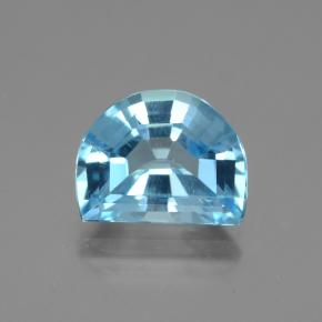 Swiss Blue Topaz Gem - 5.1ct Half Moon Facet-Cut (ID: 434317)