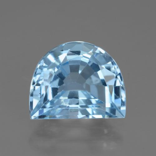 Swiss Blue Topaz Gem - 3.8ct Half Moon Facet-Cut (ID: 434779)