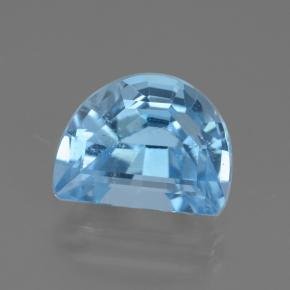 Swiss Blue Topaz Gem - 2.6ct Half Moon Facet-Cut (ID: 434783)