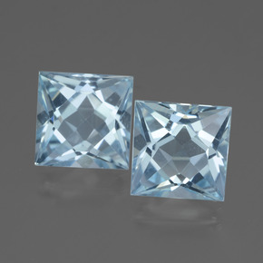 Sky Blue Topaz Gem - 3.1ct Princess-Cut (ID: 436921)