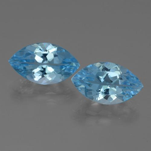 Azure Blue Topaz Gem - 4.2ct Marquise Facet (ID: 438555)
