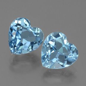 3.36 ct Heart Facet Swiss Blue Topaz Gemstone 9.05 mm x 9 mm (Product ID: 439006)