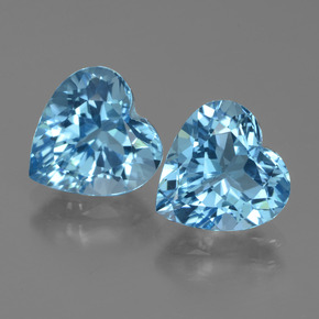 Swiss Blue Topaz Gem - 3ct Heart Facet (ID: 439062)