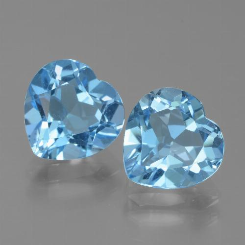 Swiss Blue Topaz Gem - 3ct Heart Facet (ID: 439066)