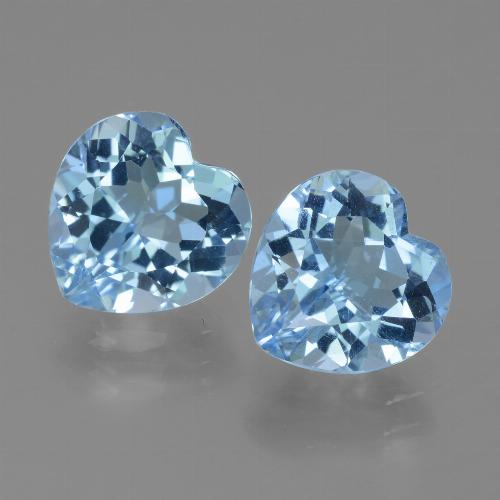 Azure Blue Topaz Gem - 3.2ct Heart Facet (ID: 439181)