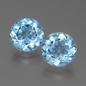3.15 ct Round Facet Swiss Blue Topaz Gemstone 9.26 mm  (Product ID: 439731)