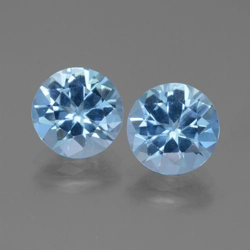 3.21 ct Round Facet Swiss Blue Topaz Gemstone 9.13 mm  (Product ID: 439849)
