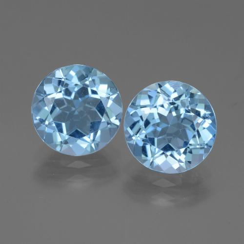 3.17 ct Round Facet Swiss Blue Topaz Gemstone 9.10 mm  (Product ID: 439851)