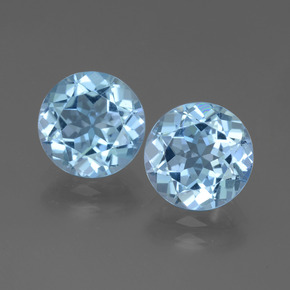 3.14 ct Round Facet Swiss Blue Topaz Gemstone 9.18 mm  (Product ID: 439853)