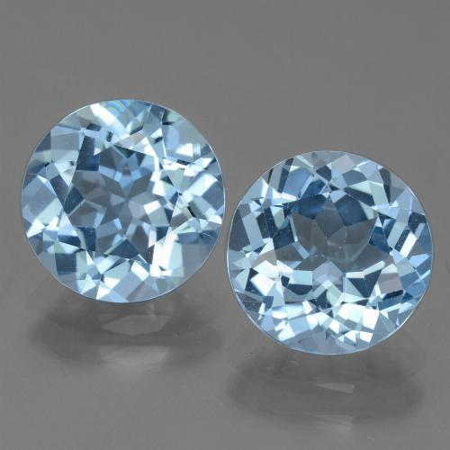 3.18 ct Round Facet Swiss Blue Topaz Gemstone 9.23 mm  (Product ID: 440009)