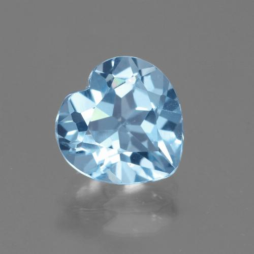 Swiss Blue Topaz Gem - 3ct Heart Facet (ID: 443147)