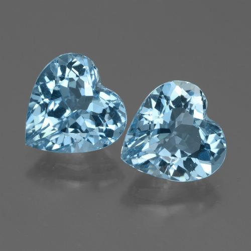 Swiss Blue Topaz Gem - 3ct Heart Facet (ID: 448312)