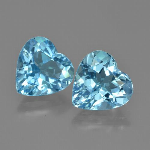 Cyan Blue Topaz Gem - 4.1ct Heart Facet (ID: 448746)