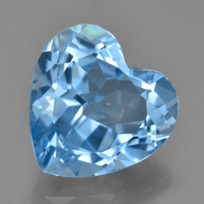 Swiss Blue Topaz Gem - 9ct Heart Facet (ID: 448938)