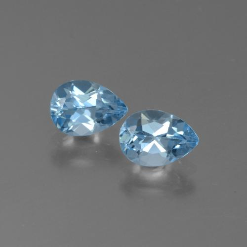 Light Cyan Blue Topacio Gema - 0.9ct Corte en forma de pera (ID: 450428)