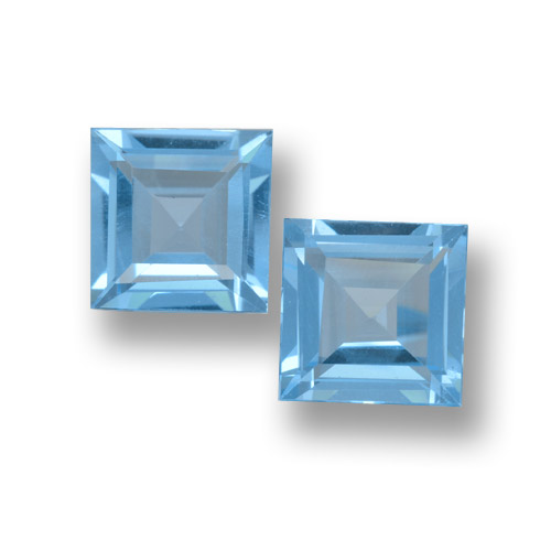 Sky Blue Topaz Gem - 1.8ct Square Step-Cut (ID: 461480)