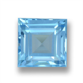 Sky Blue Topaz Gem - 2.2ct Square Step-Cut (ID: 461552)