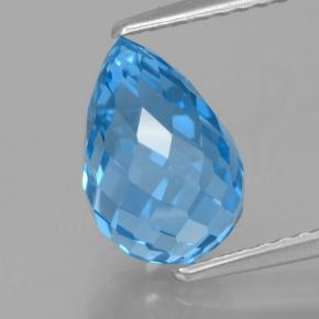 Swiss Blue Topaz Gem - 3.6ct Undrilled Briolette Teardrop (ID: 466935)