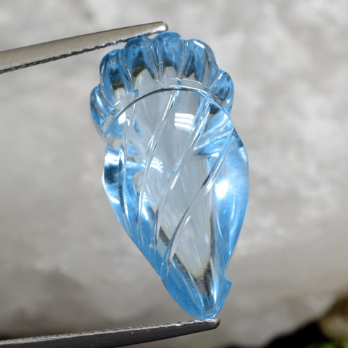 Swiss Blue Topaz Gem - 15.4ct Carved Fruit (ID: 469494)