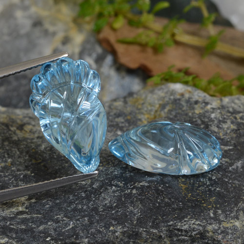 Light Cyan Blue Topaz Gem - 10.3ct Carved Leaf (ID: 474868)
