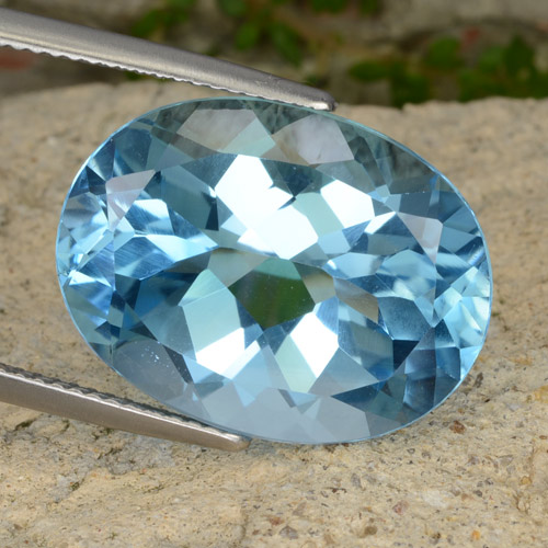 Sky Blue Topaz Gem - 21.3ct Oval Facet (ID: 477015)