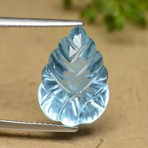 Swiss Blue Topaz Gem - 9.9ct Carved Leaf (ID: 479793)
