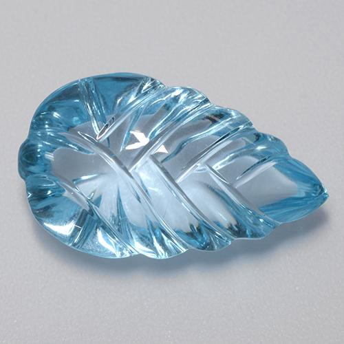 Swiss Blue Topaz Gem - 15.7ct Carved Leaf (ID: 480375)