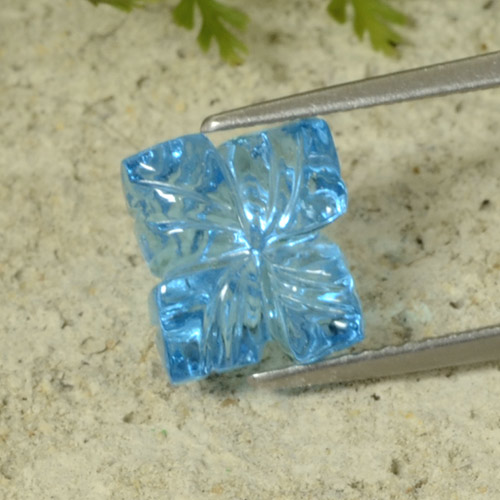 Swiss Blue Topaz Gem - 5.2ct Fantasy Carved Flower (ID: 485713)