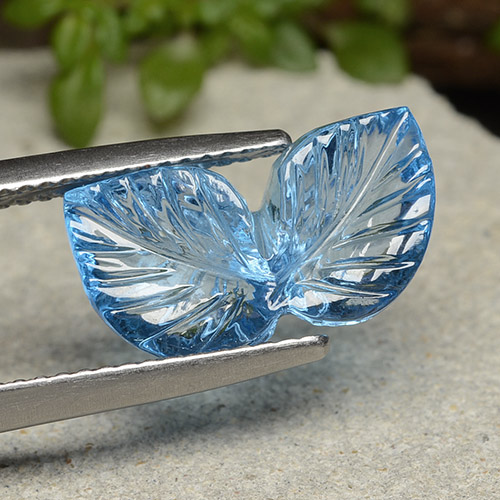 Swiss Blue Topaz Gem - 5.6ct Fantasy Carved Leaf (ID: 485937)