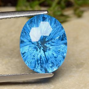 Swiss Blue Topaz Gem - 6.8ct Oval Fantasy Concave Cut (ID: 486063)