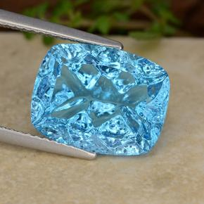 Swiss Blue Topaz Gem - 6.9ct Cushion Concave Fantasy Cut (ID: 486067)
