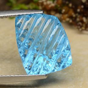 Swiss Blue Topaz Gem - 8.5ct Fancy Carving (ID: 486072)