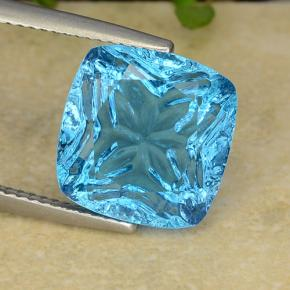 Blue Topaz Gem - 8.7ct Cushion Concave Fantasy Cut (ID: 486108)