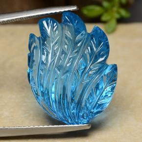 Swiss Blue Topaz Gem - 28.5ct Fantasy Carved Leaf (ID: 486115)