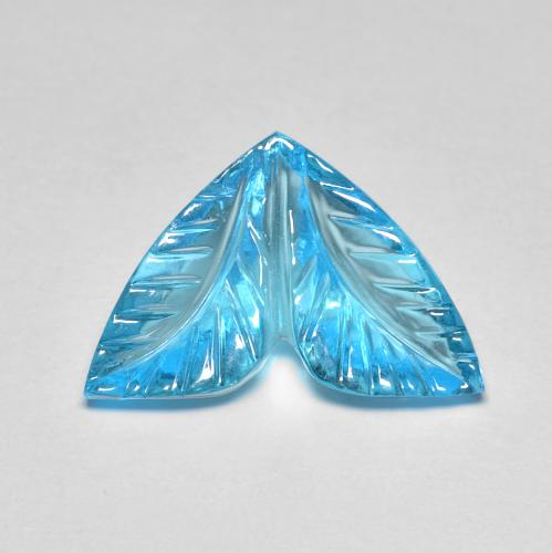 Swiss Blue Topaz Gem - 6.2ct Fantasy Carved Leaf (ID: 486124)