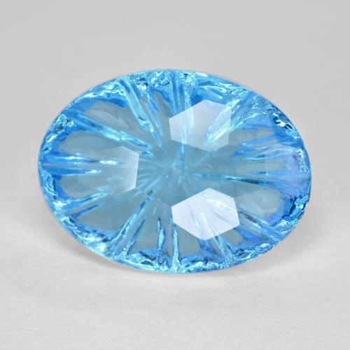 Swiss Blue Topaz Gem - 8.7ct Oval Fantasy Concave Cut (ID: 486132)