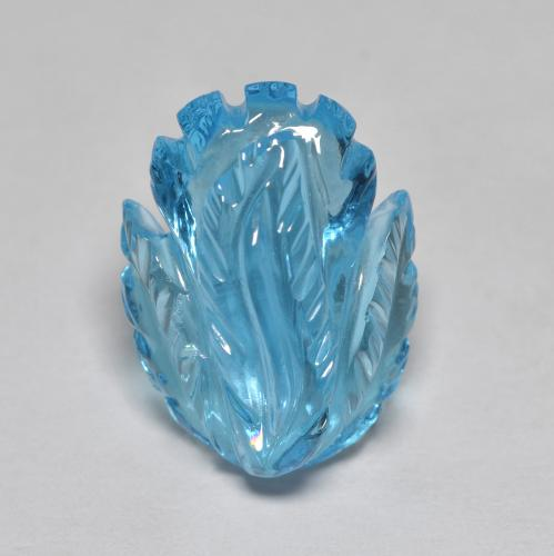 Swiss Blue Topaz Gem - 13.5ct Fantasy Carved Flower (ID: 486134)