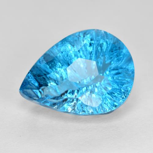 Swiss Blue Topaz Gem - 12.8ct Pear Concave Fantasy Cut (ID: 486145)