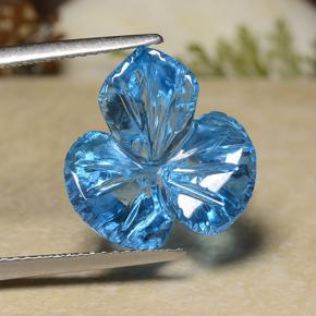 Swiss Blue Topaz Gem - 11.8ct Fantasy Carved Leaf (ID: 486159)